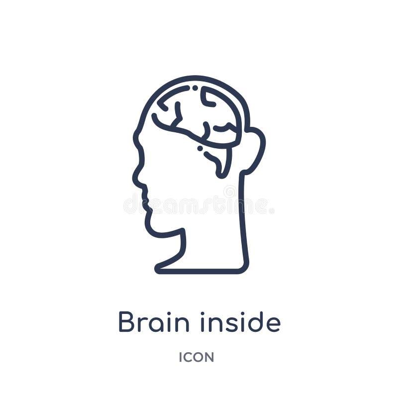 Linjär hjärna inom symbol för mänskligt huvud från samling för översikt för människokroppdelar Tunn linje hjärna inom symbolen fö vektor illustrationer