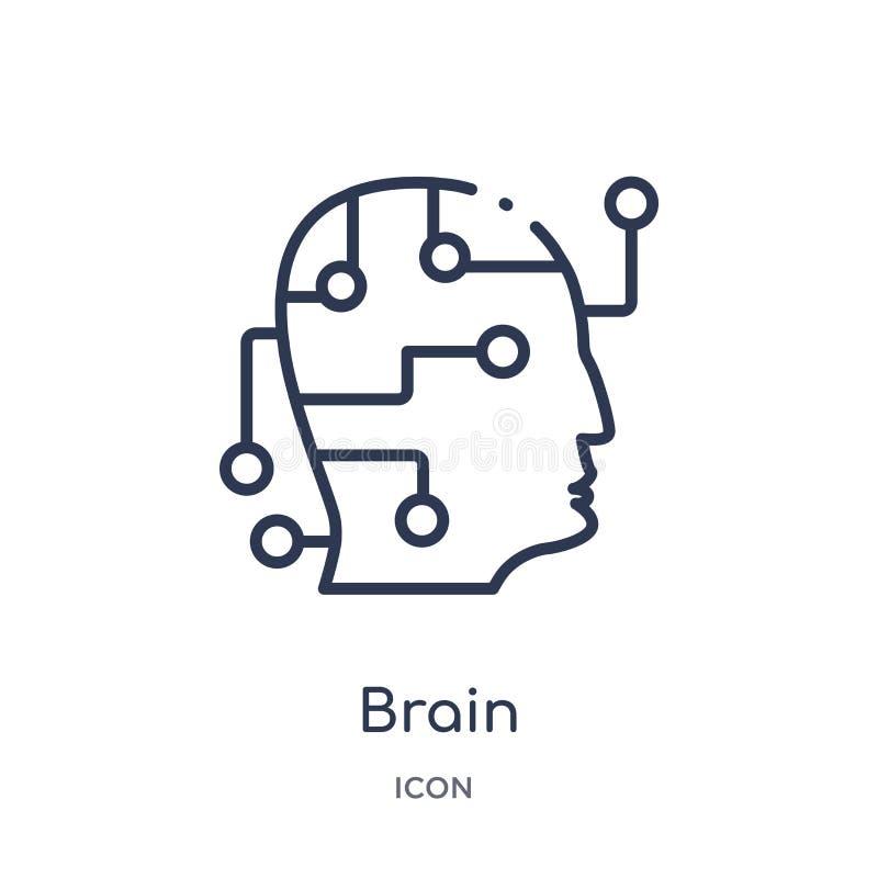 Linjär hjärnsymbol från konstgjord intellegence och den framtida teknologiöversiktssamlingen Tunn linje hjärnvektor som isoleras  royaltyfri illustrationer