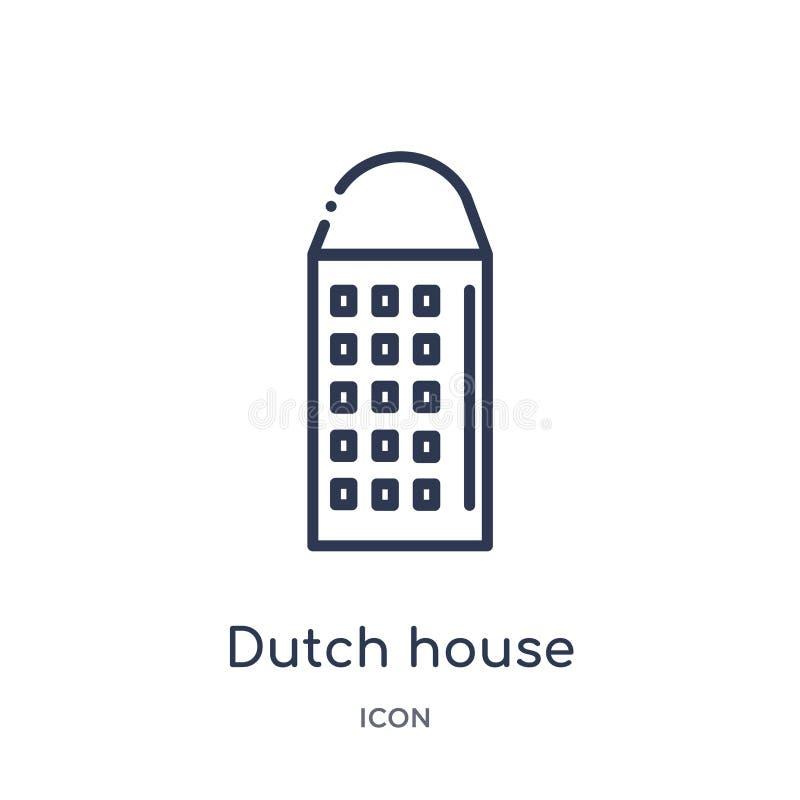 Linjär holländsk hussymbol från byggnadsöversiktssamling Tunn linje holländsk hussymbol som isoleras på vit bakgrund holländskt h royaltyfri illustrationer