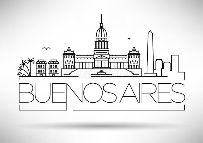 Linjär horisont för minsta Buenos Aires stad med typografisk design stock illustrationer