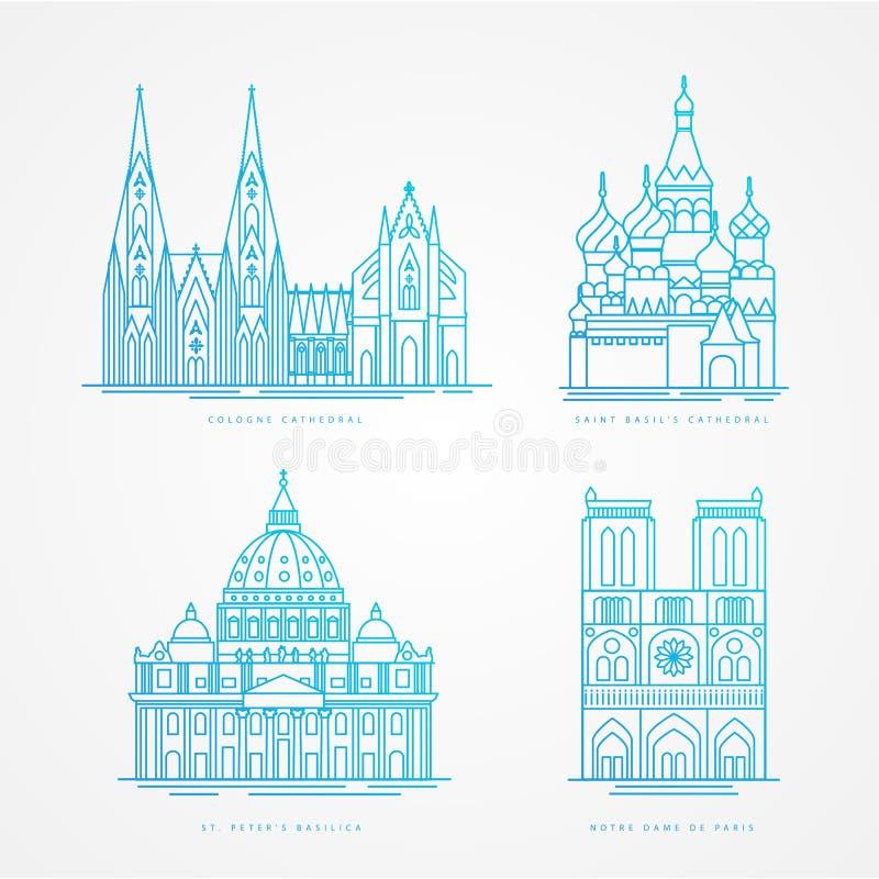 Linjär icionuppsättning Berömd domkyrka för värld Gränsmärken av Europa Paris Moskva Rome och Cologne vektor illustrationer