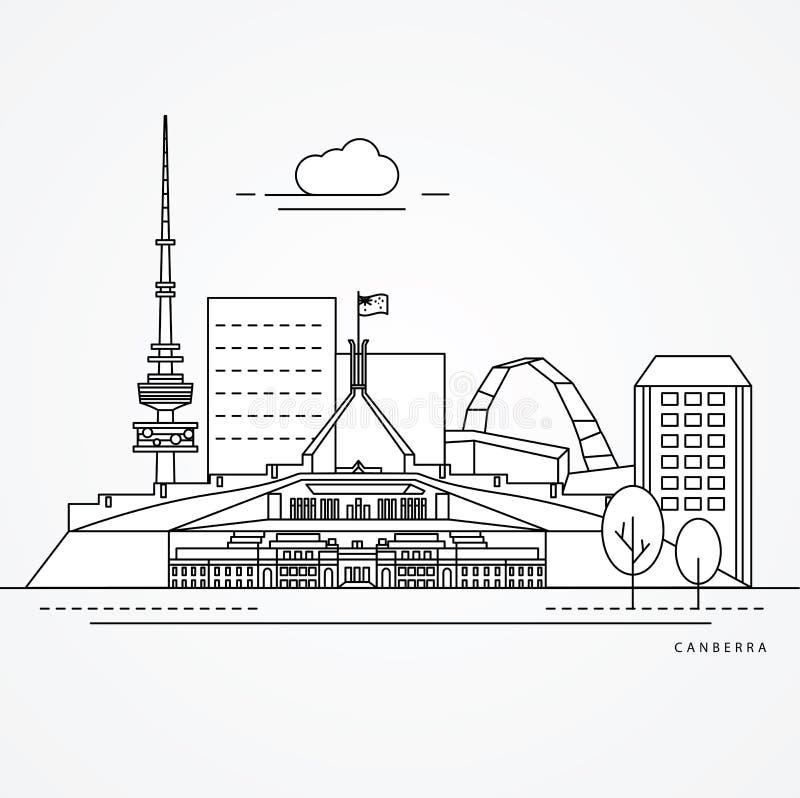 Linjär illustration av Canberra, Australien stock illustrationer