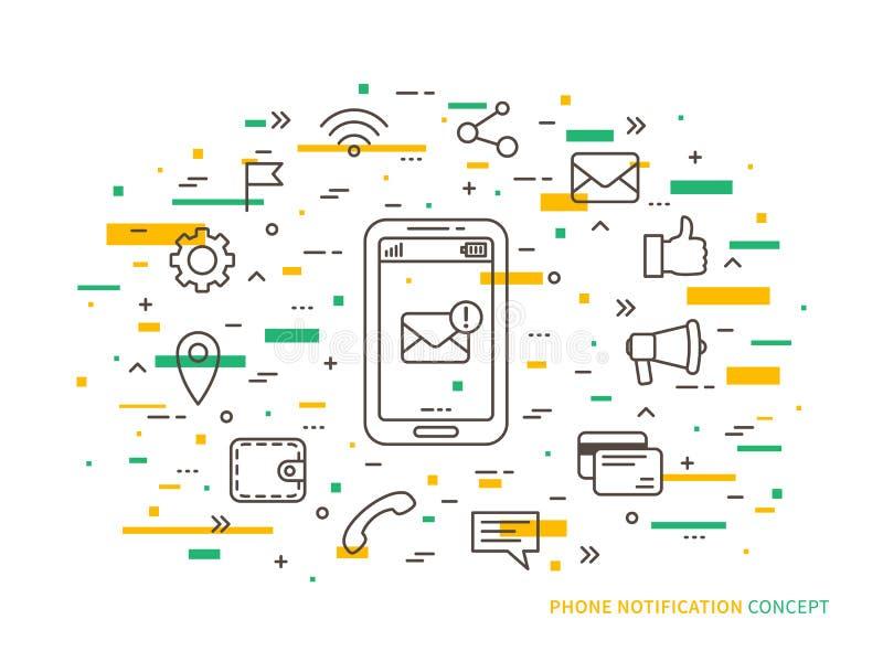 Linjär illustration för telefonmeddelandevektor royaltyfri illustrationer