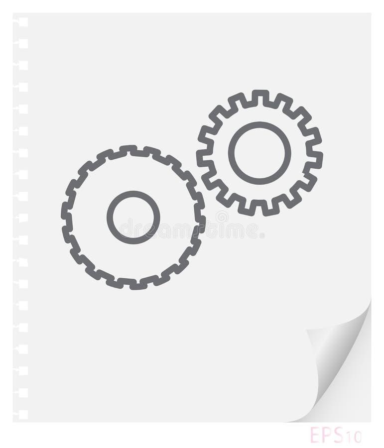Linjär illustration för vektor av mekaniska kugghjul på ett stycke av papper med ett krökt hörn och hål från vårar, skolalinje sy vektor illustrationer