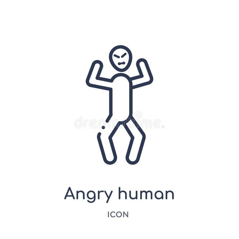 Linjär ilsken mänsklig symbol från känslaöversiktssamling Tunn linje ilsken mänsklig vektor som isoleras på vit bakgrund ilsken m stock illustrationer