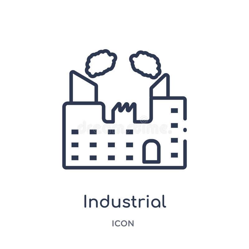 Linjär industribyggnad med föroreningssymbolen från arméöversiktssamling Tunn linje industribyggnad med föroreningar stock illustrationer
