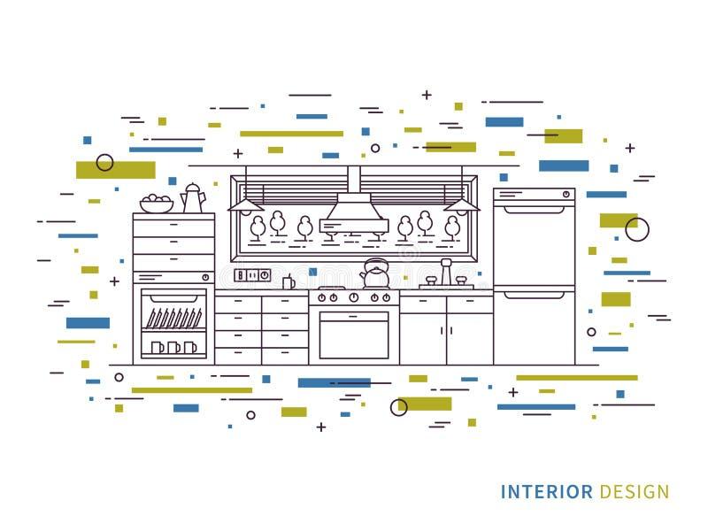 Linjär inre illustration av modernt märkes- kök vektor illustrationer