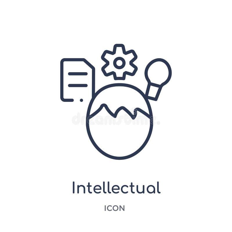 Linjär intellektuell symbol från utbildningsöversiktssamling Tunn linje intellektuell symbol som isoleras på vit bakgrund intelle vektor illustrationer