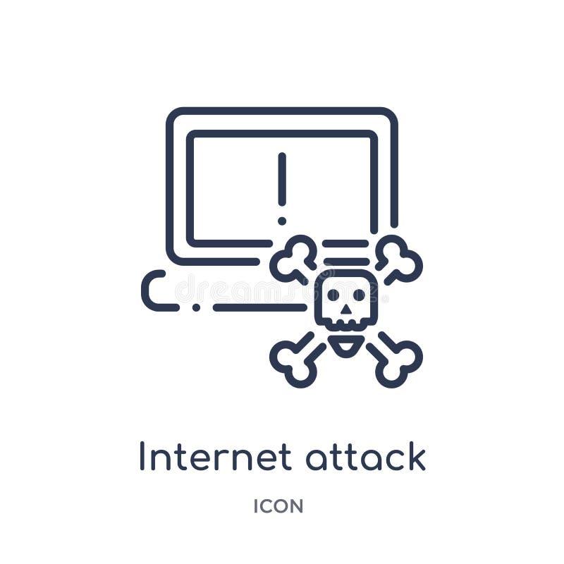 Linjär internetattacksymbol från säkerhet och att knyta kontakt för internet översiktssamlingen Tunn linje internetattacksymbol s vektor illustrationer