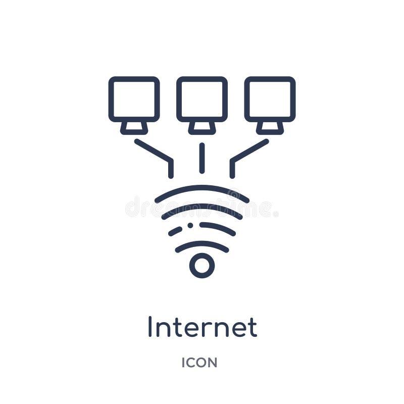 Linjär internetuppkopplingsymbol från säkerhet och att knyta kontakt för internet översiktssamlingen Tunn linje internetuppkoppli royaltyfri illustrationer