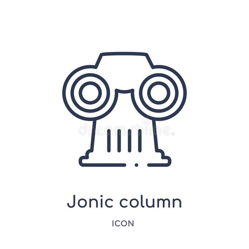 Linjär jonic kolonnsymbol från Grekland översiktssamling Tunn linje jonic kolonnsymbol som isoleras på vit bakgrund jonic kolonn royaltyfri illustrationer