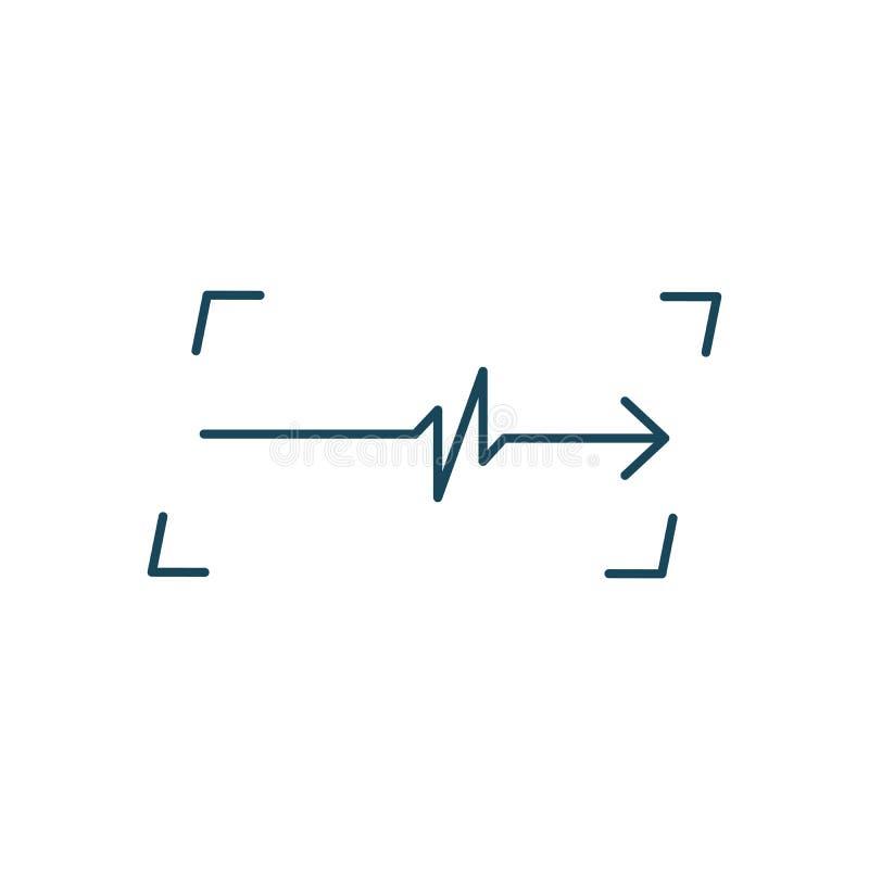 Linjär kardiogram i ramlogo Bildskärm för kardiologihjärtatakt ECG Pulslinje Isolerad vektorillustration vektor illustrationer
