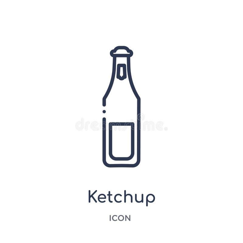 Linjär ketchupsymbol från kököversiktssamling Tunn linje ketchupsymbol som isoleras på vit bakgrund moderiktig ketchup royaltyfri illustrationer