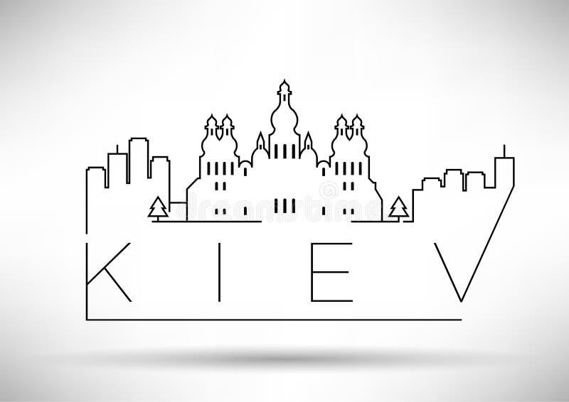 Linjär Kiev stadskontur med typografisk design stock illustrationer