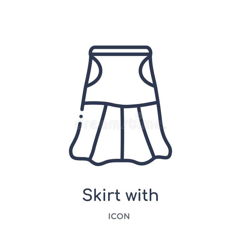 Linjär kjol med den vita fodrasymbolen från modeöversiktssamling Tunn linje kjol med den vita fodrasymbolen som isoleras på vit vektor illustrationer