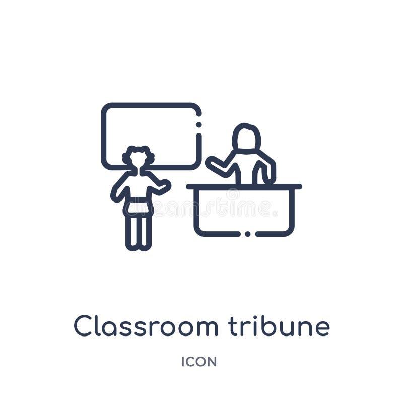Linjär klassrumtribunsymbol från utbildningsöversiktssamling Tunn linje klassrumtribunsymbol som isoleras på vit bakgrund royaltyfri illustrationer
