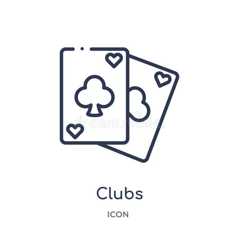 Linjär klubbasymbol från förälskelse- och romansöversiktssamling Tunn linje klubbasymbol som isoleras på vit bakgrund moderiktiga royaltyfri illustrationer