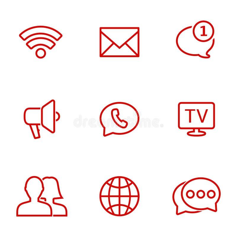Linjär kommunikationssymbolsuppsättning Universell kommunikationssymbol som ska användas i rengöringsduk och mobil royaltyfri illustrationer
