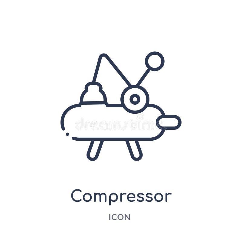 Linjär kompressorsymbol från branschöversiktssamling Tunn linje kompressorsymbol som isoleras på vit bakgrund moderiktig kompress vektor illustrationer