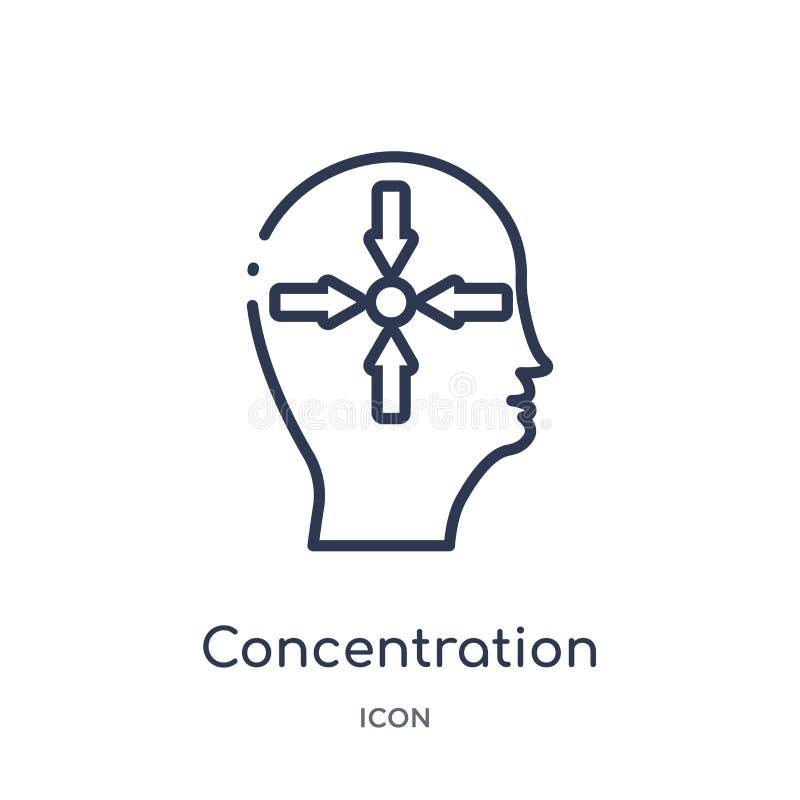 Linjär koncentrationssymbol från samling för hjärnprocessöversikt Tunn linje koncentrationsvektor som isoleras på vit bakgrund stock illustrationer