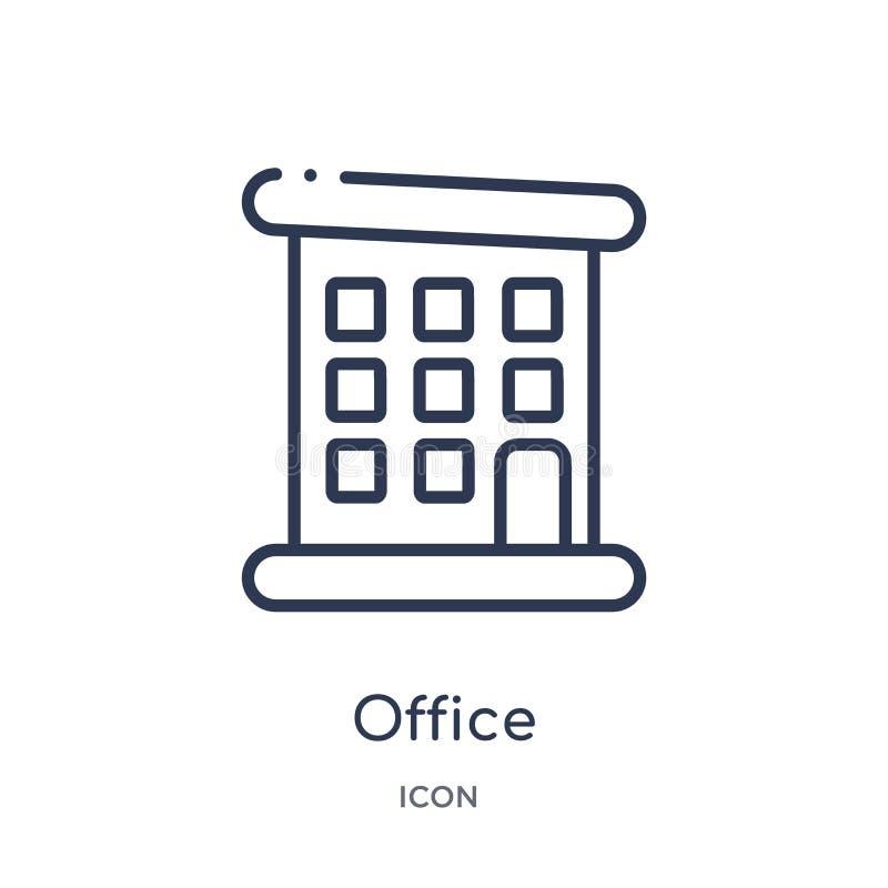 Linjär kontorssymbol från samling för jobbmeritförteckningöversikt Tunn linje kontorssymbol som isoleras på vit bakgrund moderikt vektor illustrationer