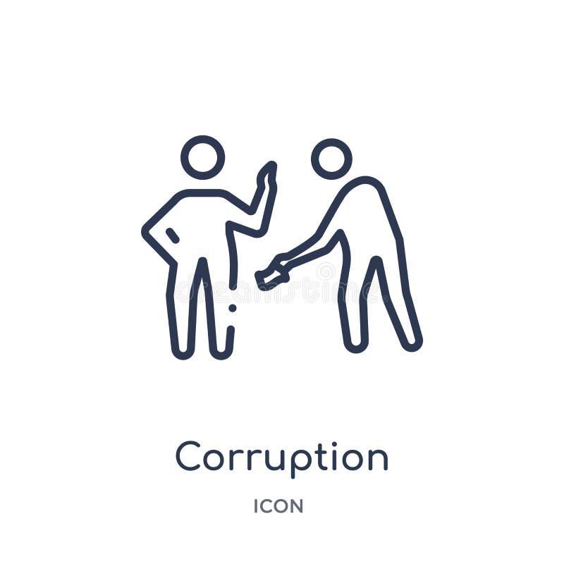 Linjär korruptionsymbol från etiköversiktssamling Tunn linje korruptionvektor som isoleras på vit bakgrund moderiktig korruption vektor illustrationer