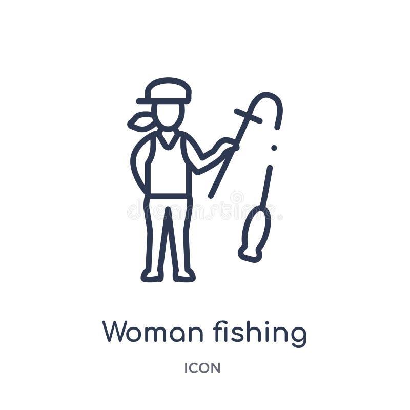 Linjär kvinna som fiskar symbolen från damöversiktssamling Tunn linje kvinna som fiskar symbolen som isoleras på vit bakgrund Kvi stock illustrationer