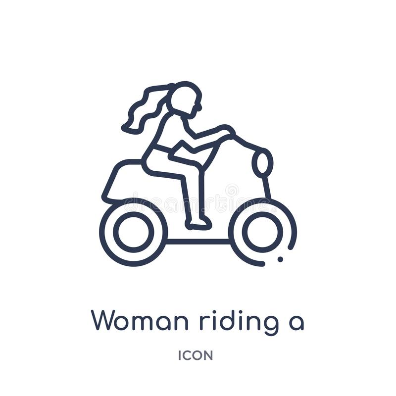 Linjär kvinna som rider en mopedsymbol från damöversiktssamling Tunn linje kvinna som rider en mopedsymbol som isoleras på vit royaltyfri illustrationer