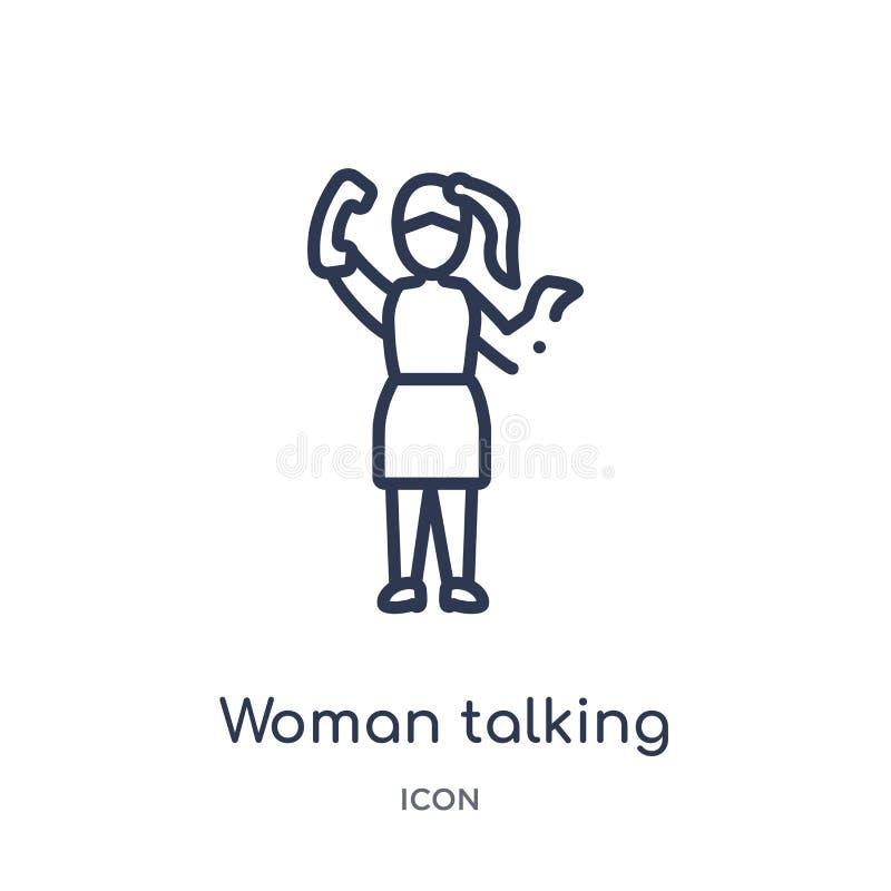 Linjär kvinna som talar vid telefonsymbolen från damöversiktssamling Tunn linje kvinna som talar vid telefonsymbolen som isoleras royaltyfri illustrationer