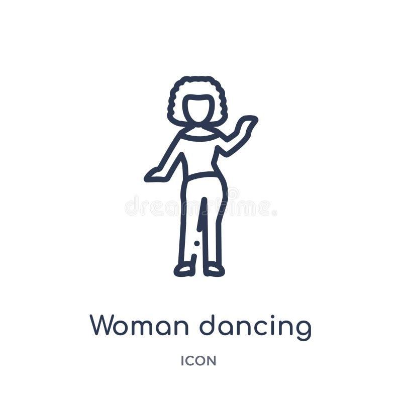 Linjär kvinnadanssymbol från damöversiktssamling Tunn linje kvinnadanssymbol som isoleras på vit bakgrund Kvinnadans stock illustrationer
