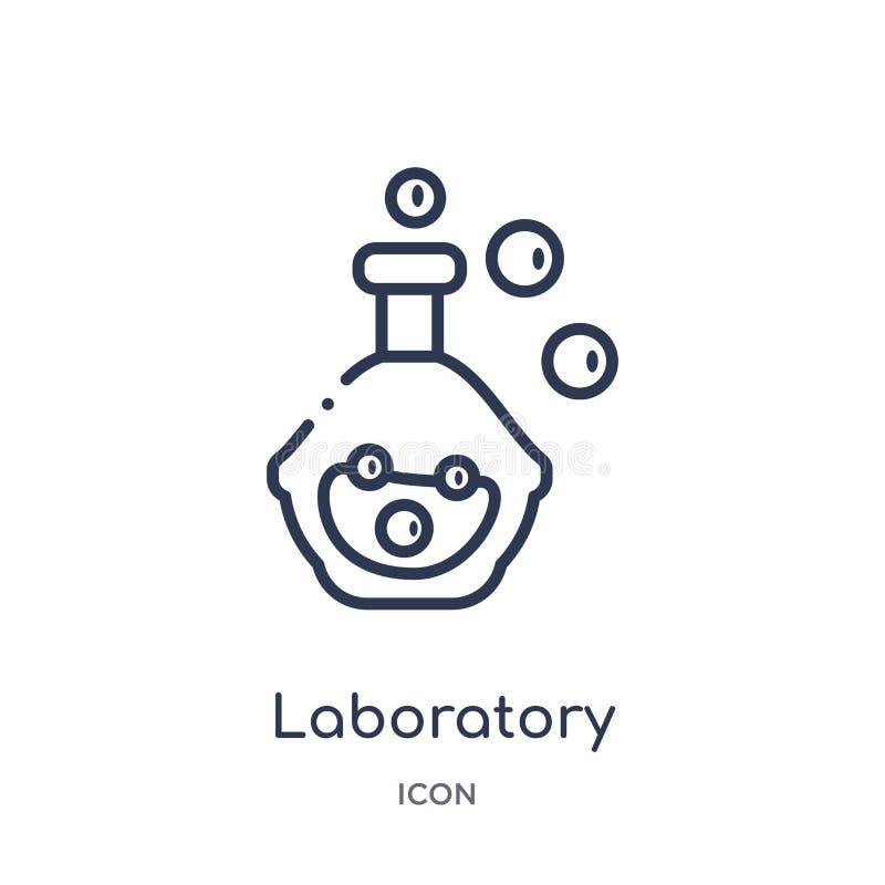 Linjär laboratoriumsymbol från kemiöversiktssamling Tunn linje laboratoriumvektor som isoleras på vit bakgrund laboratorium royaltyfri illustrationer