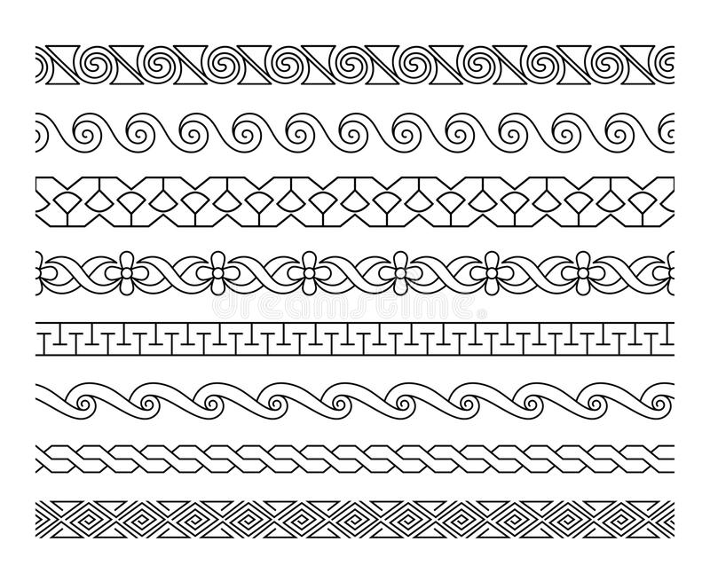 Linjär laceworkgränsuppsättning vektor illustrationer