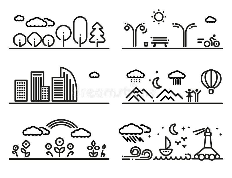 Linjär landskapuppsättning vektor illustrationer