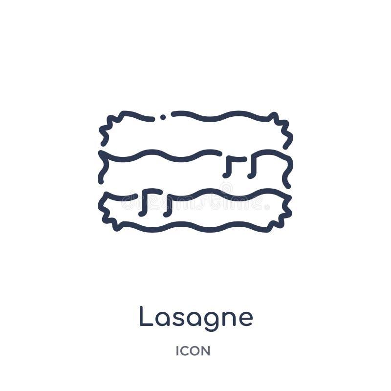 Linjär lasagnesymbol från gastronomiöversiktssamling Tunn linje lasagnesymbol som isoleras på vit bakgrund moderiktig lasagne stock illustrationer