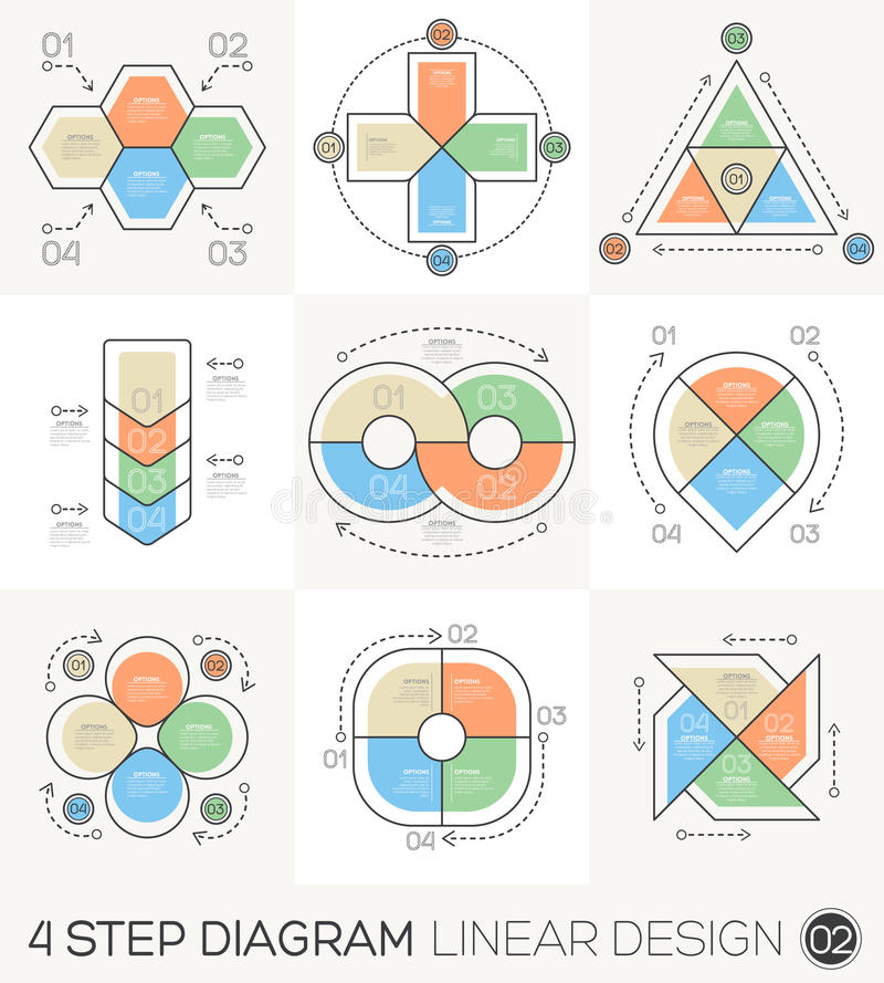 Linjär linje beståndsdelar för grafisk design & Infographic mall stock illustrationer