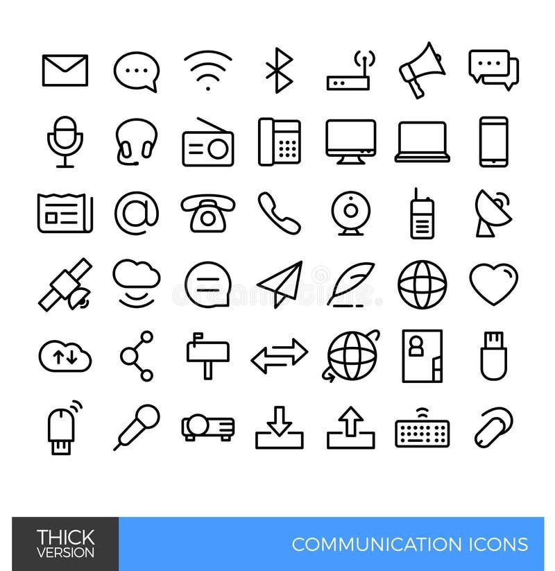 Linjär linje symboler för kommunikationsmassmedia stock illustrationer