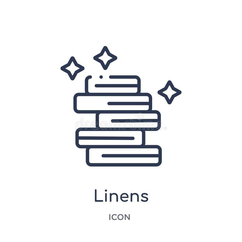 Linjär linnesymbol från möblemang- och hushållöversiktssamling Tunn linje linnesymbol som isoleras på vit bakgrund linnen stock illustrationer