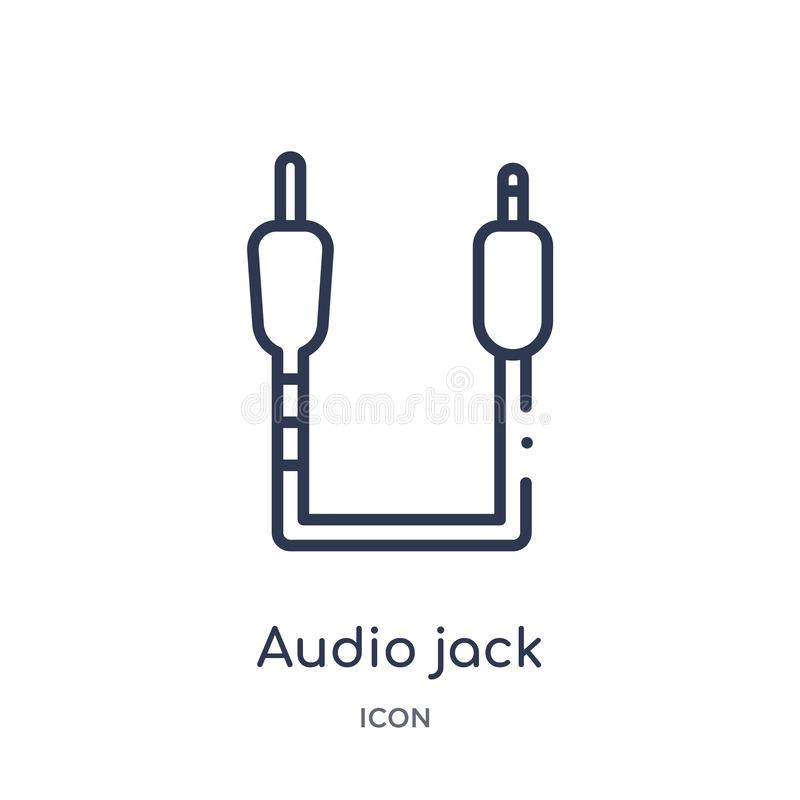 Linjär ljudsignal stålarsymbol från samling för Electrian anslutningsöversikt Tunn linje ljudsignal stålarvektor som isoleras på  stock illustrationer