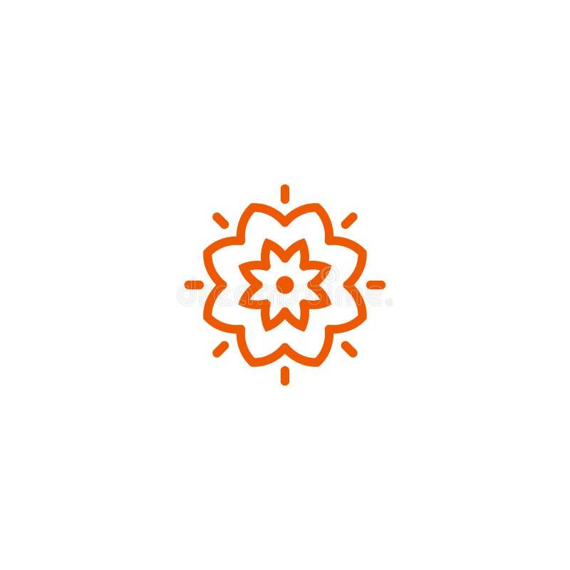 Linjär logo för blommavektor Orange linje konstsolsymbol Trädgårds- abstrakt symbol för översikt royaltyfri illustrationer