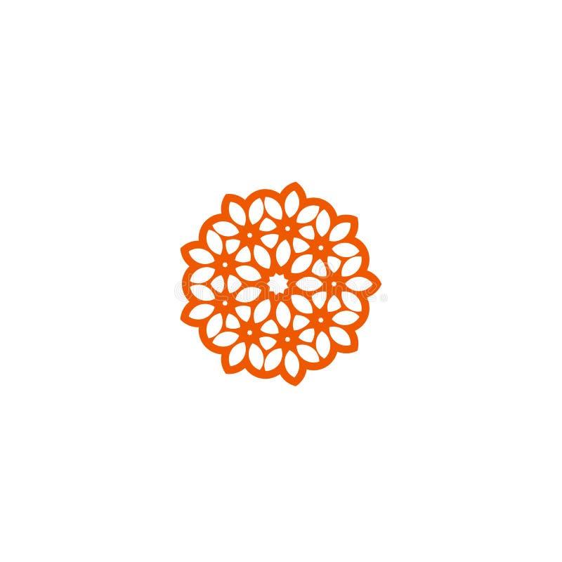Linjär logo för blommavektor Orange linje konstsolsymbol Trädgårds- abstrakt symbol för översikt vektor illustrationer