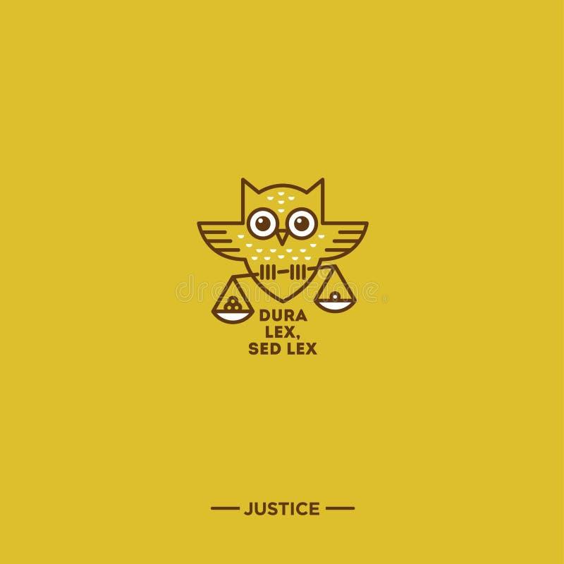 Linjär logo för rättvisa Latinskt uttryck om lagen Ugglaemblem stock illustrationer