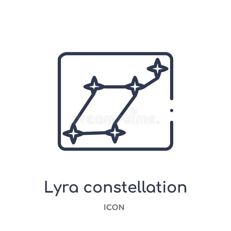 Linjär lyrakonstellationsymbol från astronomiöversiktssamling Tunn linje lyrakonstellationvektor som isoleras på vit bakgrund vektor illustrationer
