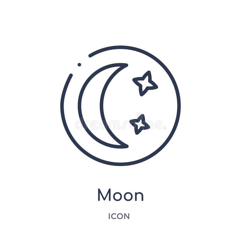 Linjär månesymbol från astronomiöversiktssamling Tunn linje månevektor som isoleras på vit bakgrund moderiktig illustration för m vektor illustrationer