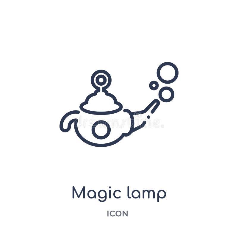 Linjär magisk lampsymbol från magisk översiktssamling Tunn linje magisk lampsymbol som isoleras på vit bakgrund moderiktig magisk stock illustrationer