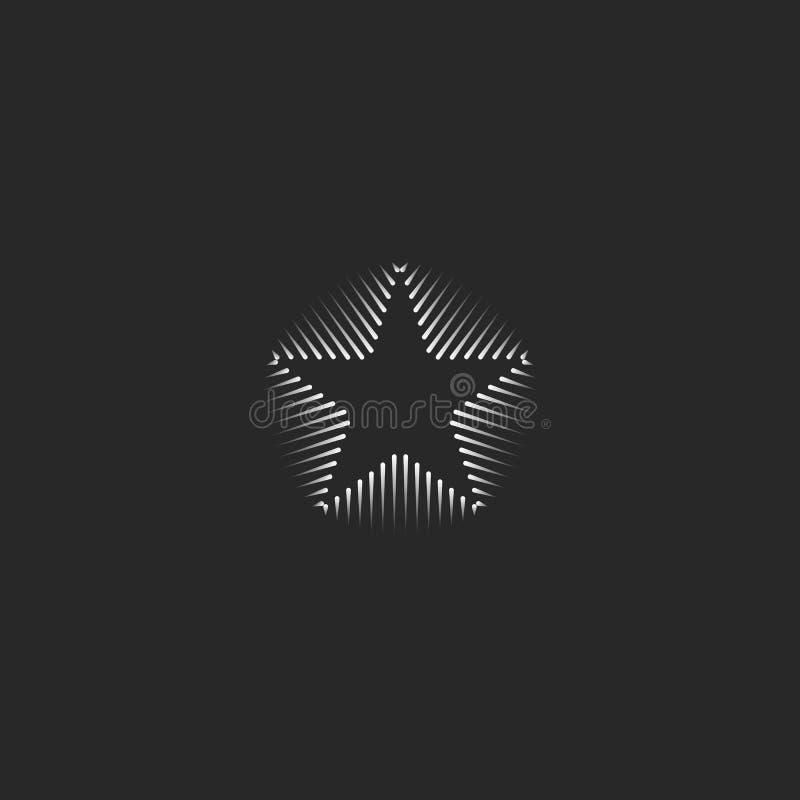 Linjär mall för kort för stjärnalogoaffär Svartvit minsta form för Hipster för rengöringsdukdesign Linje geometrisk abstrakt form stock illustrationer