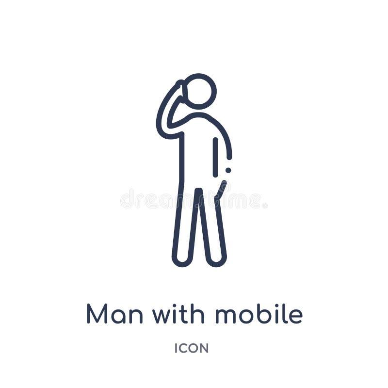 Linjär man med mobiltelefonsymbolen från uppförandeöversiktssamling Tunn linje man med mobiltelefonvektorn som isoleras på vit royaltyfri illustrationer