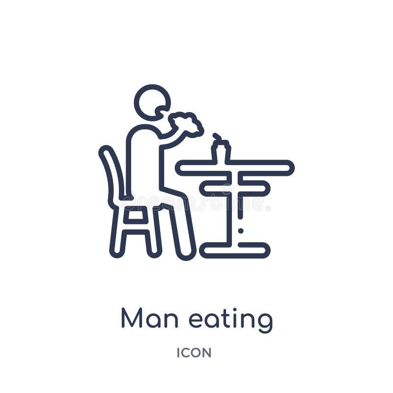 Linjär man som äter symbolen från uppförandeöversiktssamling Tunn linje man som äter vektorn som isoleras på vit bakgrund Äta för vektor illustrationer