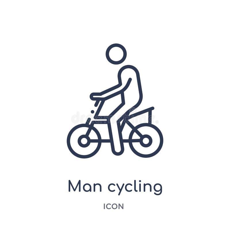 Linjär man som cyklar symbolen från uppförandeöversiktssamling Tunn linje man som cyklar vektorn som isoleras på vit bakgrund Cyk royaltyfri illustrationer