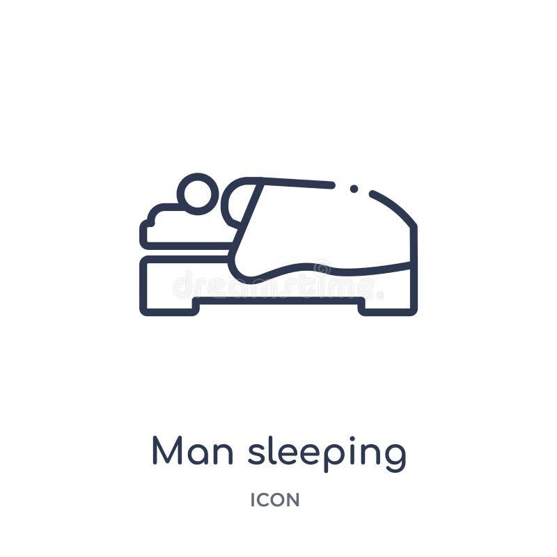 Linjär man som sover symbolen från uppförandeöversiktssamling Tunn linje man som sover vektorn som isoleras på vit bakgrund man stock illustrationer