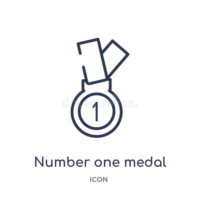 Linjär medaljsymbol för nummer ett från samling för allmän översikt Tunn linje medaljsymbol för nummer som ett isoleras på vit ba stock illustrationer